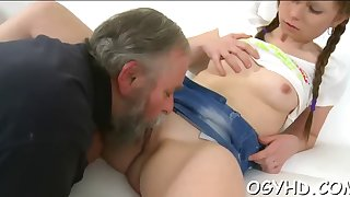 young gal blows old pecker