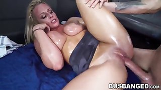 luscious blonde babe with big tits fucked during a car ride