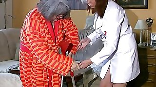 Plus-size chubby Nurse masturbate with old Granny